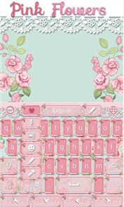Pink Flowers GO Keyboard Theme image