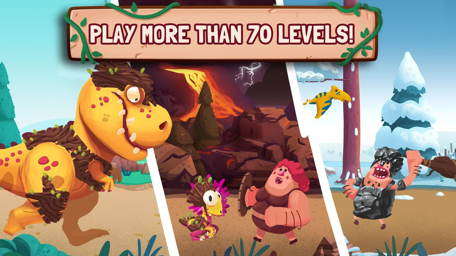 Dino Bash – Dinos v Cavemen for PC Windows and MAC Free Download